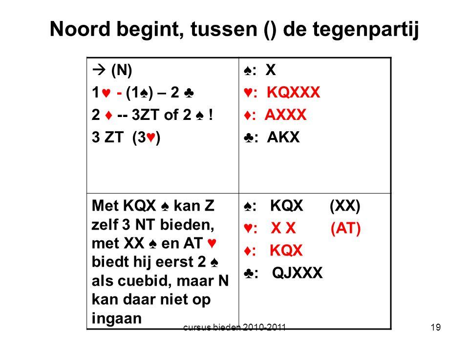 cursus bieden 2010-201119 Noord begint, tussen () de tegenpartij  (N) 1  - (1♠) – 2 ♣ 2 ♦ -- 3ZT of 2 ♠ ! 3 ZT (3♥) ♠: X ♥: KQXXX ♦: AXXX ♣: AKX Met