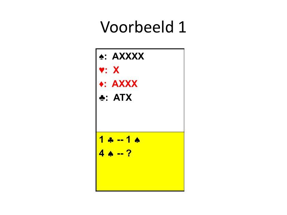 ♠: XX ♥: AX ♦: AQTX ♣: AQJXX 1  -- 2  3  -- ?? Voorbeeld 2: