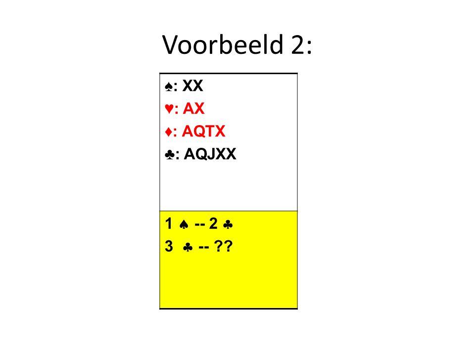 Voorbeelden ♠: AKQX ♥: KQX ♦: QXX ♣: XXX  (N) 1 ZT 5 ♦ ♠: XX ♥: AXX ♦: XX ♣: AKQJTX 4 ZT ??