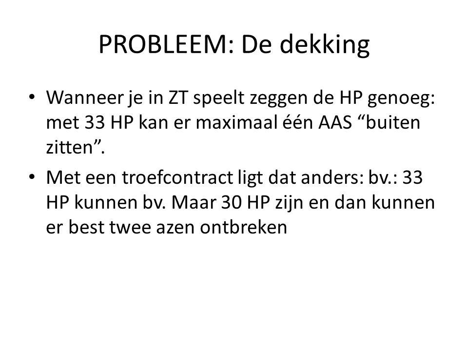"""PROBLEEM: De dekking • Wanneer je in ZT speelt zeggen de HP genoeg: met 33 HP kan er maximaal één AAS """"buiten zitten"""". • Met een troefcontract ligt da"""