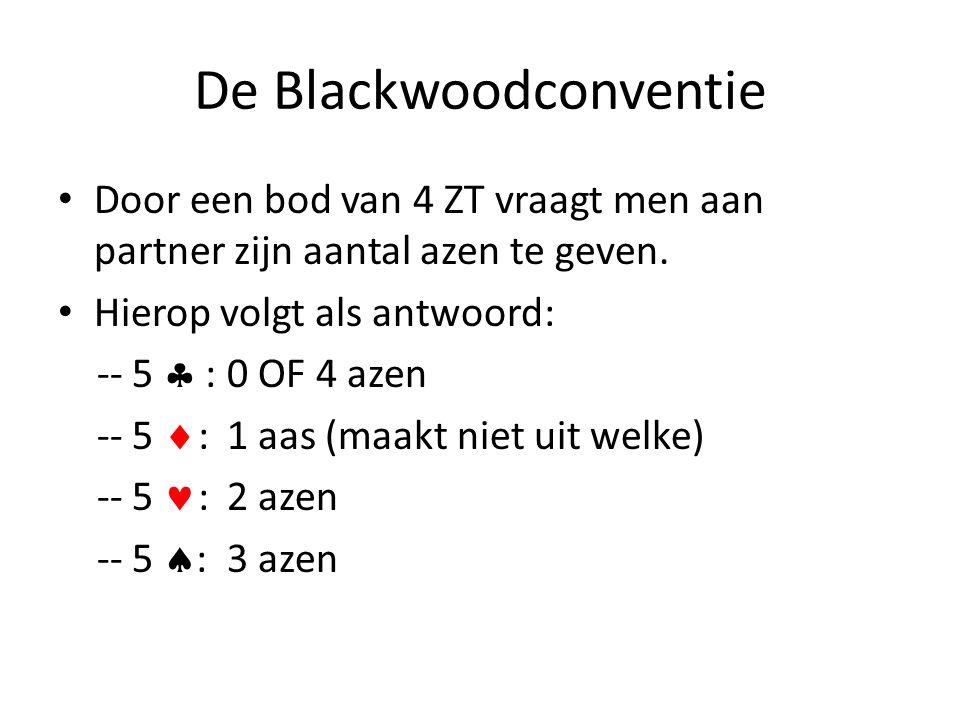 De Blackwoodconventie • Door een bod van 4 ZT vraagt men aan partner zijn aantal azen te geven. • Hierop volgt als antwoord: -- 5  : 0 OF 4 azen -- 5