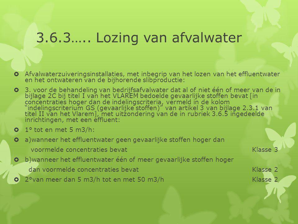 3.6.3….. Lozing van afvalwater  Afvalwaterzuiveringsinstallaties, met inbegrip van het lozen van het effluentwater en het ontwateren van de bijhorend