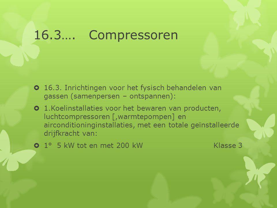 16.3…. Compressoren  16.3. Inrichtingen voor het fysisch behandelen van gassen (samenpersen – ontspannen):  1.Koelinstallaties voor het bewaren van