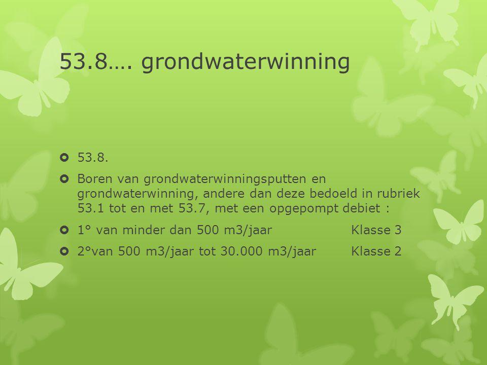 53.8…. grondwaterwinning  53.8.  Boren van grondwaterwinningsputten en grondwaterwinning, andere dan deze bedoeld in rubriek 53.1 tot en met 53.7, m