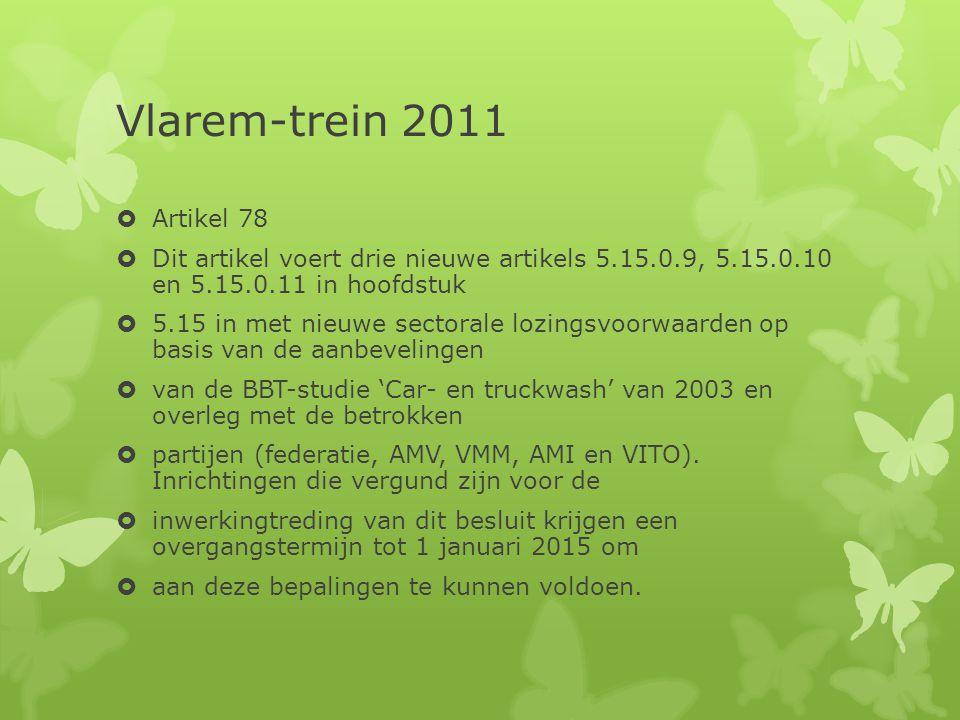 Vlarem-trein 2011  Artikel 78  Dit artikel voert drie nieuwe artikels 5.15.0.9, 5.15.0.10 en 5.15.0.11 in hoofdstuk  5.15 in met nieuwe sectorale l