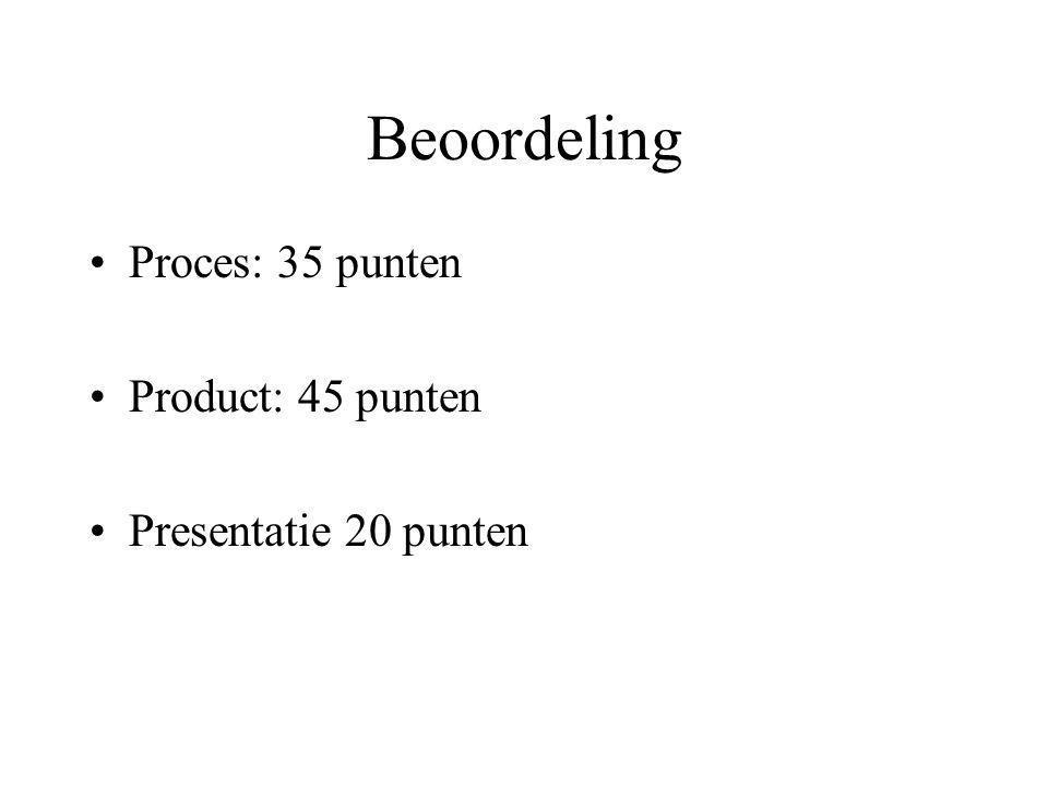 Beoordeling •Proces: 35 punten •Product: 45 punten •Presentatie 20 punten