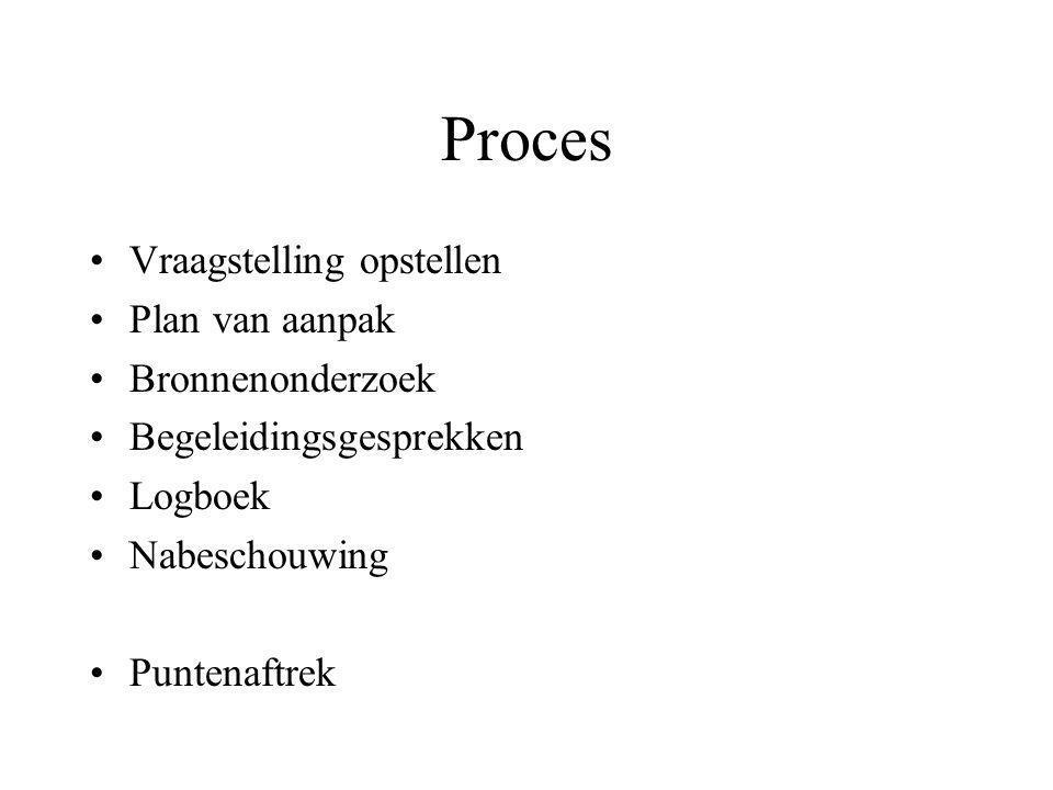 Proces •Vraagstelling opstellen •Plan van aanpak •Bronnenonderzoek •Begeleidingsgesprekken •Logboek •Nabeschouwing •Puntenaftrek