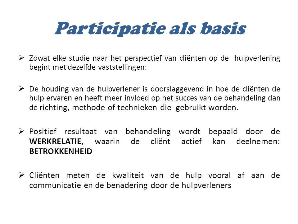 Participatie als basis  Conclusie:  Een participatieve basishouding bij de hulpverlener is een onontbeerlijk vertrekpunt.