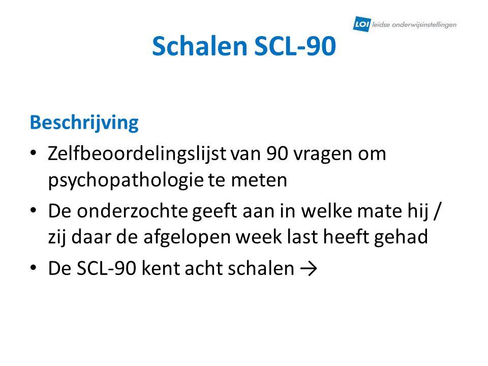 Schalen SCL-90 Beschrijving • Zelfbeoordelingslijst van 90 vragen om psychopathologie te meten • De onderzochte geeft aan in welke mate hij / zij daar