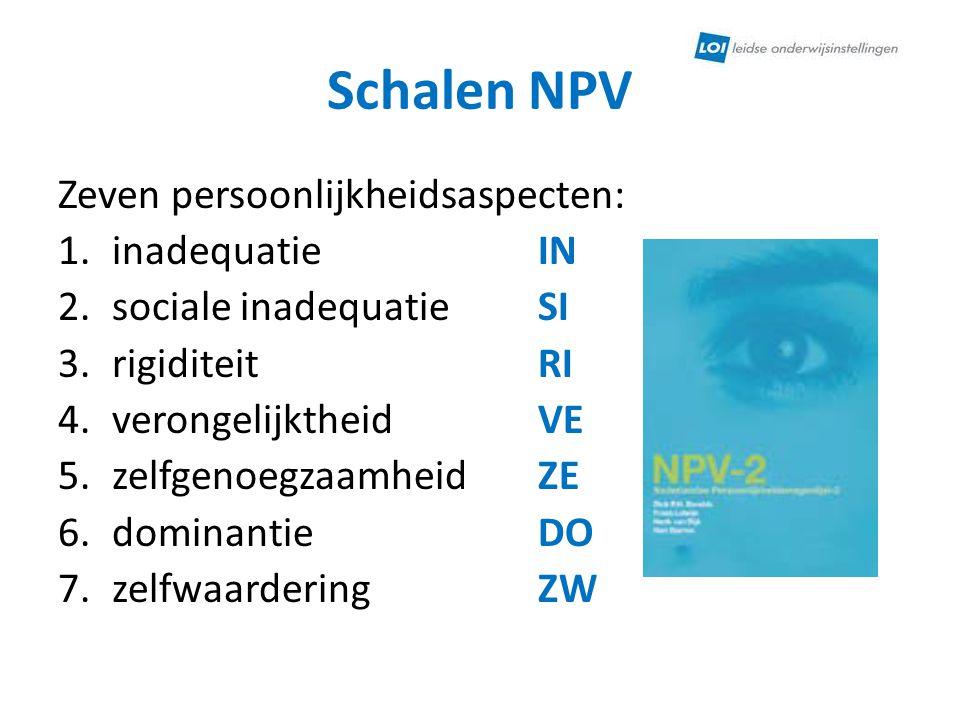 Schalen NPV Zeven persoonlijkheidsaspecten: 1.inadequatie IN 2.sociale inadequatie SI 3.rigiditeit RI 4.verongelijktheid VE 5.zelfgenoegzaamheid ZE 6.