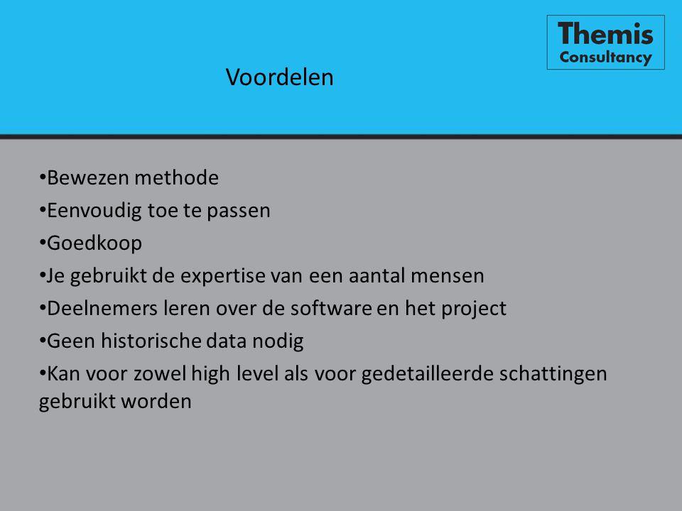 Voordelen • Bewezen methode • Eenvoudig toe te passen • Goedkoop • Je gebruikt de expertise van een aantal mensen • Deelnemers leren over de software