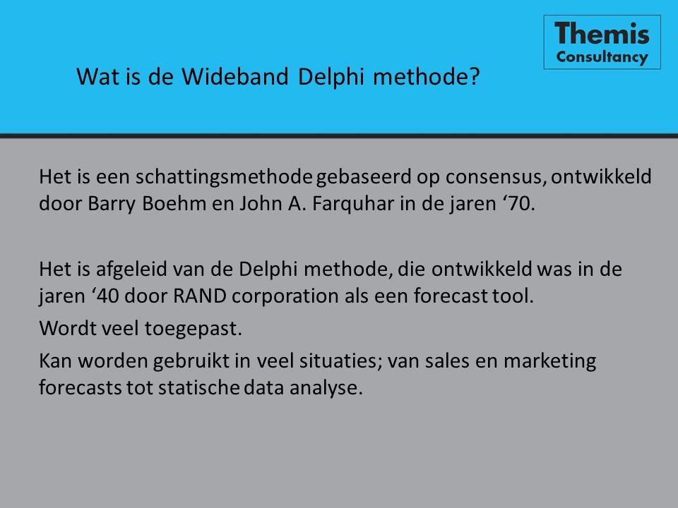 Wat is de Wideband Delphi methode? Het is een schattingsmethode gebaseerd op consensus, ontwikkeld door Barry Boehm en John A. Farquhar in de jaren '7