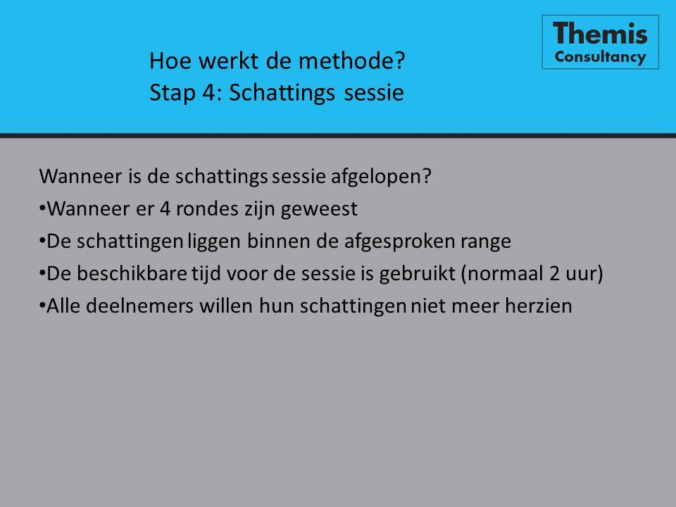 Hoe werkt de methode? Stap 4: Schattings sessie Wanneer is de schattings sessie afgelopen? • Wanneer er 4 rondes zijn geweest • De schattingen liggen