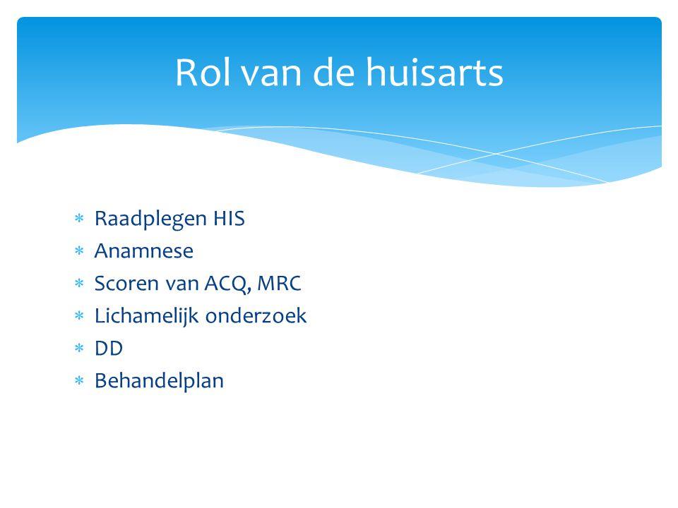  Raadplegen HIS  Anamnese  Scoren van ACQ, MRC  Lichamelijk onderzoek  DD  Behandelplan Rol van de huisarts