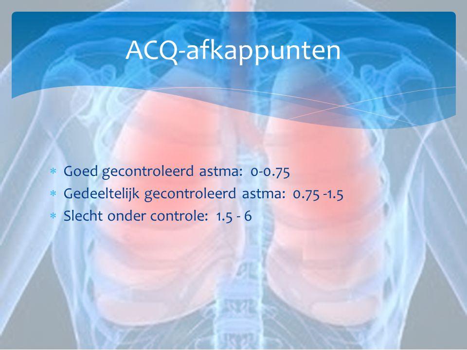 ACQ-afkappunten  Goed gecontroleerd astma: 0-0.75  Gedeeltelijk gecontroleerd astma: 0.75 -1.5  Slecht onder controle: 1.5 - 6