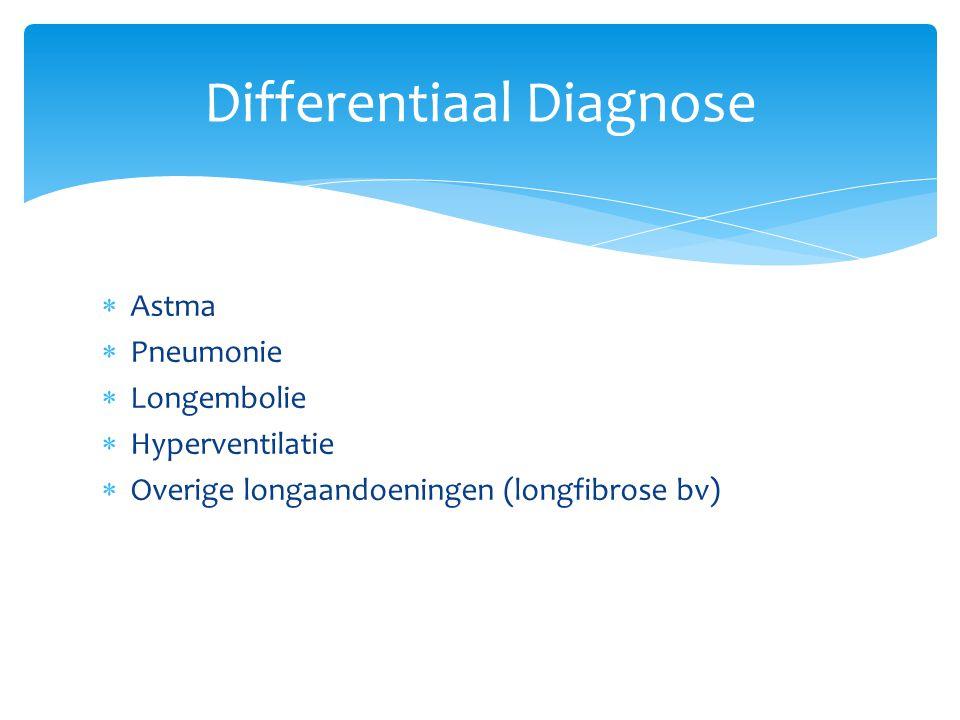  Astma  Pneumonie  Longembolie  Hyperventilatie  Overige longaandoeningen (longfibrose bv) Differentiaal Diagnose