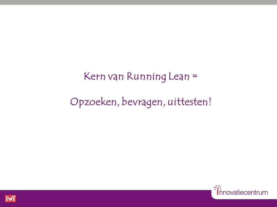 Kern van Running Lean = Opzoeken, bevragen, uittesten!