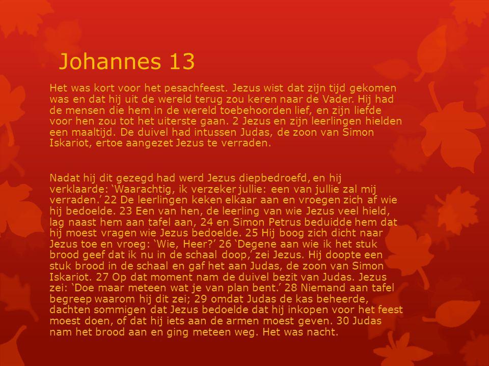 Johannes 13 Het was kort voor het pesachfeest.