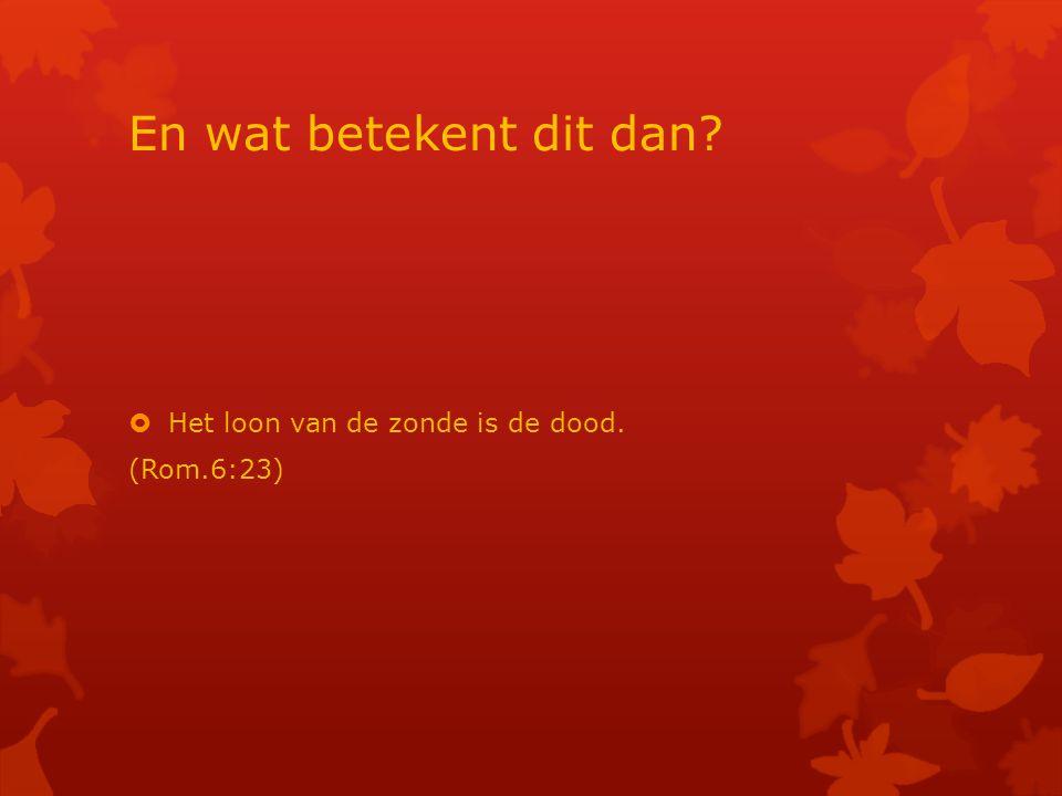 En wat betekent dit dan?  Het loon van de zonde is de dood. (Rom.6:23)