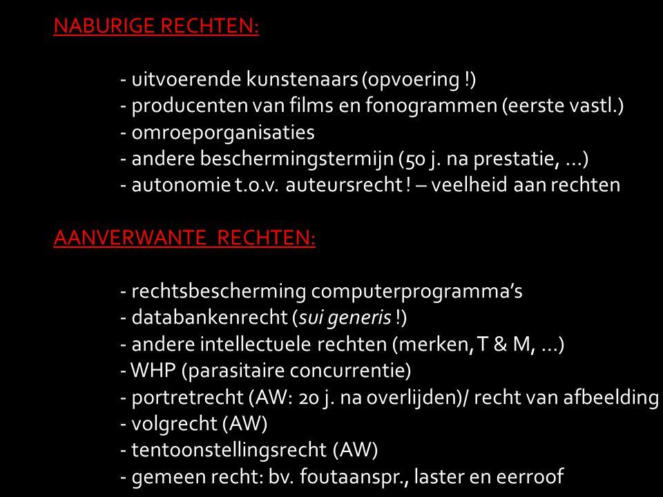 NABURIGE RECHTEN: - uitvoerende kunstenaars (opvoering !) - producenten van films en fonogrammen (eerste vastl.) - omroeporganisaties - andere bescher