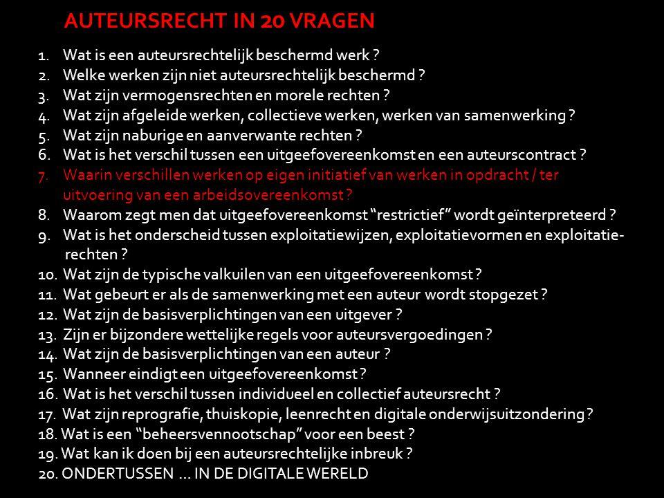 AUTEURSRECHT IN 20 VRAGEN 1.Wat is een auteursrechtelijk beschermd werk ? 2.Welke werken zijn niet auteursrechtelijk beschermd ? 3.Wat zijn vermogensr