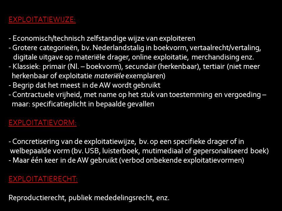 EXPLOITATIEWIJZE: - Economisch/technisch zelfstandige wijze van exploiteren - Grotere categorieën, bv. Nederlandstalig in boekvorm, vertaalrecht/verta