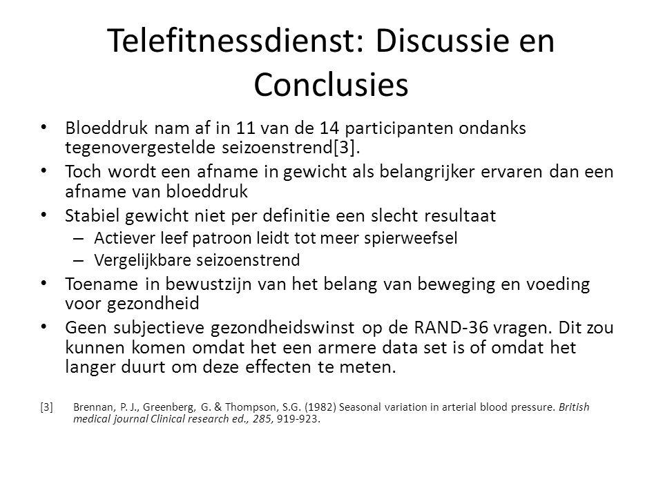 Telefitnessdienst: Discussie en Conclusies • Bloeddruk nam af in 11 van de 14 participanten ondanks tegenovergestelde seizoenstrend[3]. • Toch wordt e