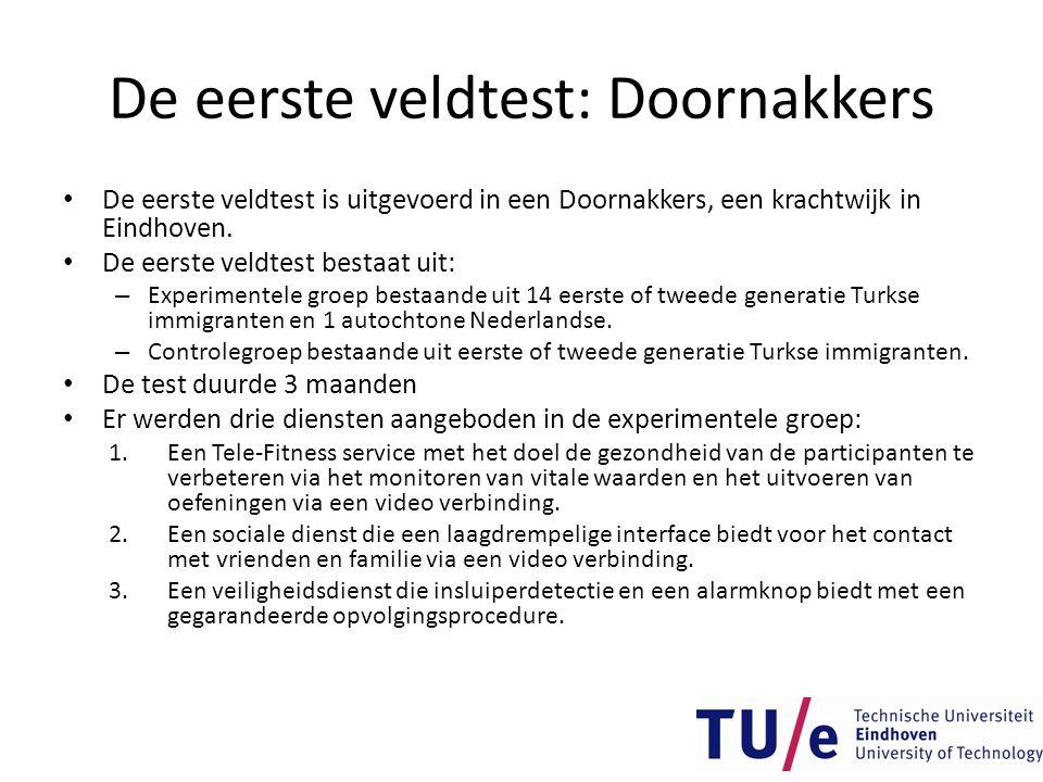 De eerste veldtest: Doornakkers • De eerste veldtest is uitgevoerd in een Doornakkers, een krachtwijk in Eindhoven. • De eerste veldtest bestaat uit:
