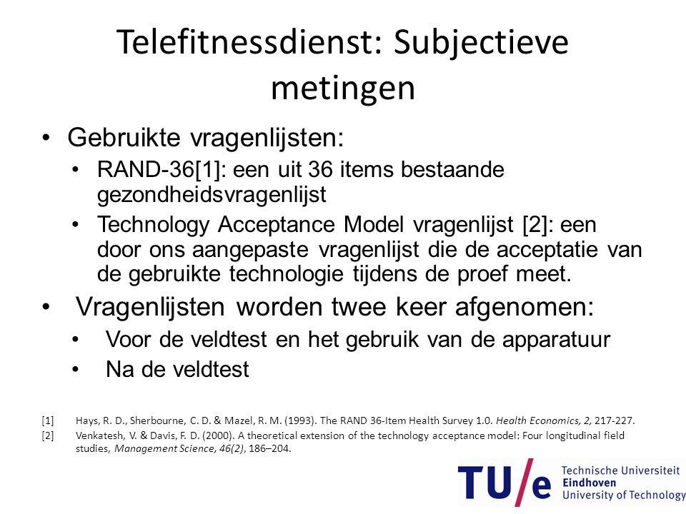 Telefitnessdienst: Subjectieve metingen •Gebruikte vragenlijsten: •RAND-36[1]: een uit 36 items bestaande gezondheidsvragenlijst •Technology Acceptanc