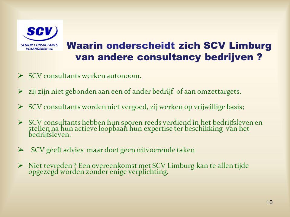 Waarin onderscheidt zich SCV Limburg van andere consultancy bedrijven ?  SCV consultants werken autonoom.  zij zijn niet gebonden aan een of ander b