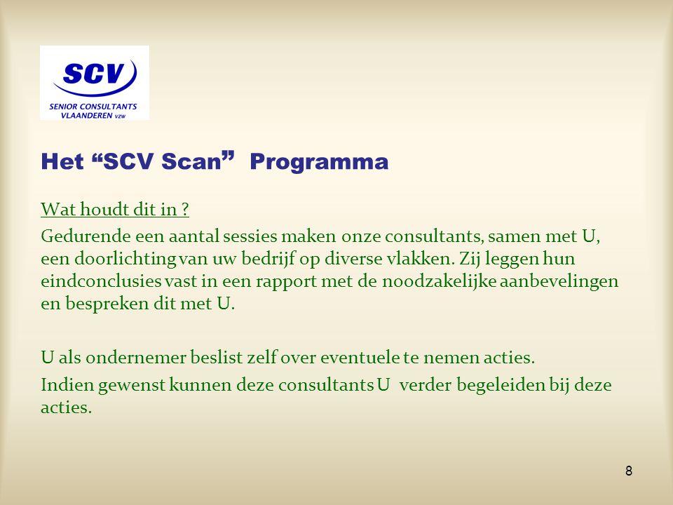 """Het """"SCV Scan """" Programma Wat houdt dit in ? Gedurende een aantal sessies maken onze consultants, samen met U, een doorlichting van uw bedrijf op dive"""