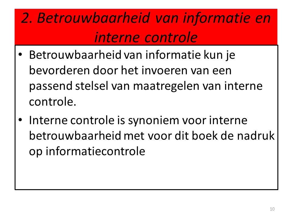 2. Betrouwbaarheid van informatie en interne controle • Betrouwbaarheid van informatie kun je bevorderen door het invoeren van een passend stelsel van