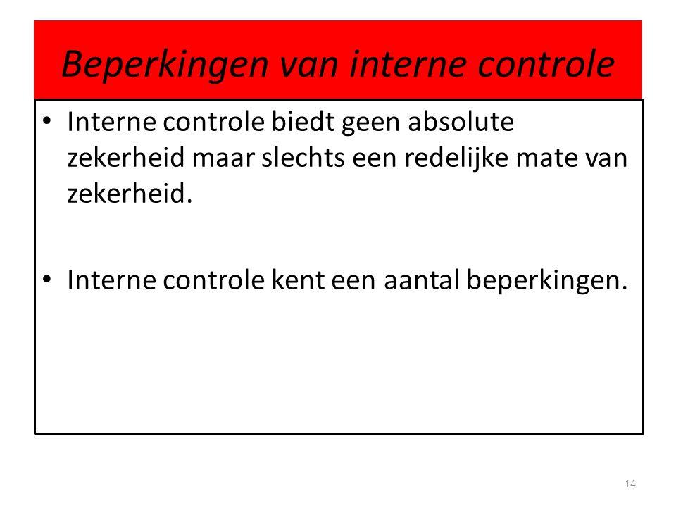 Beperkingen van interne controle • Interne controle biedt geen absolute zekerheid maar slechts een redelijke mate van zekerheid. • Interne controle ke