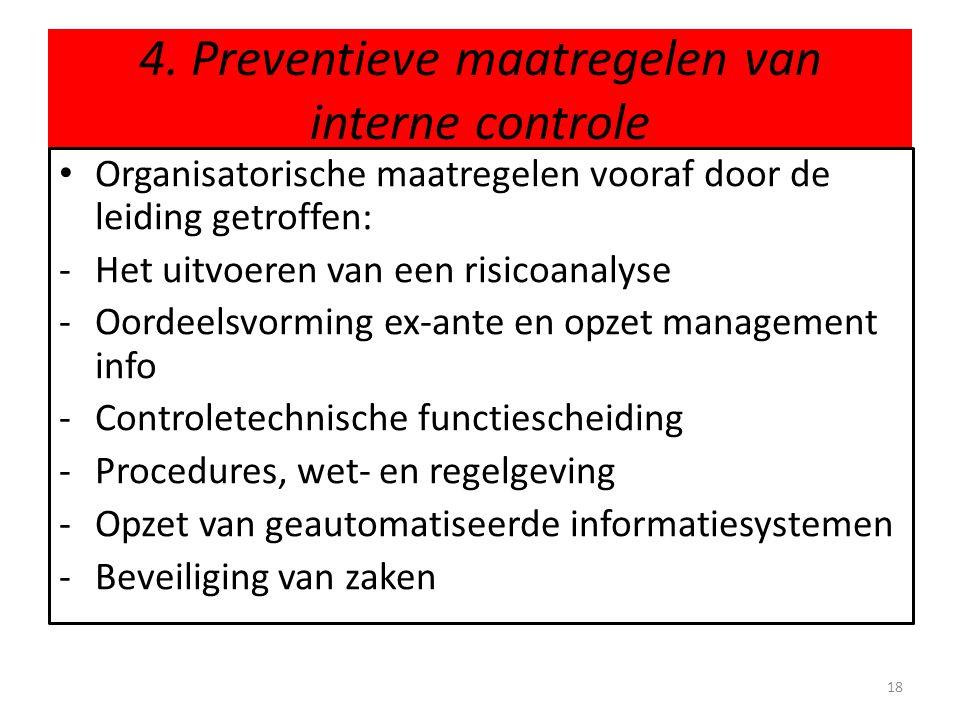4. Preventieve maatregelen van interne controle • Organisatorische maatregelen vooraf door de leiding getroffen: -Het uitvoeren van een risicoanalyse