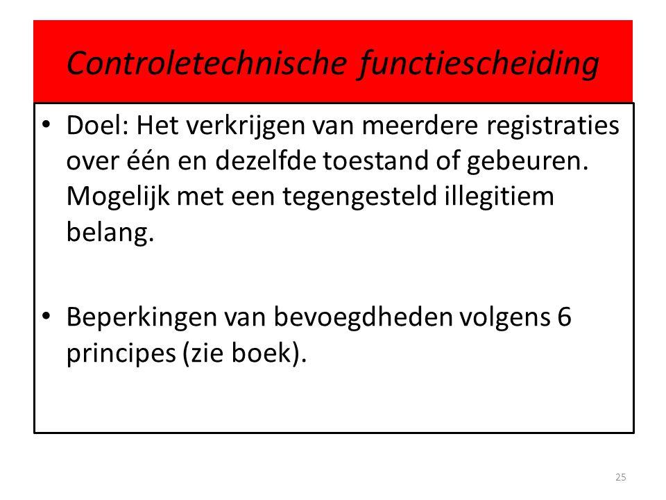Controletechnische functiescheiding • Doel: Het verkrijgen van meerdere registraties over één en dezelfde toestand of gebeuren. Mogelijk met een tegen