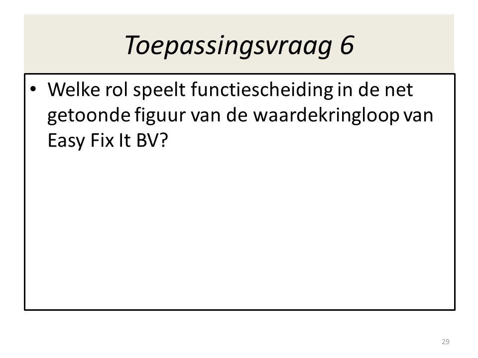 Toepassingsvraag 6 • Welke rol speelt functiescheiding in de net getoonde figuur van de waardekringloop van Easy Fix It BV? 29