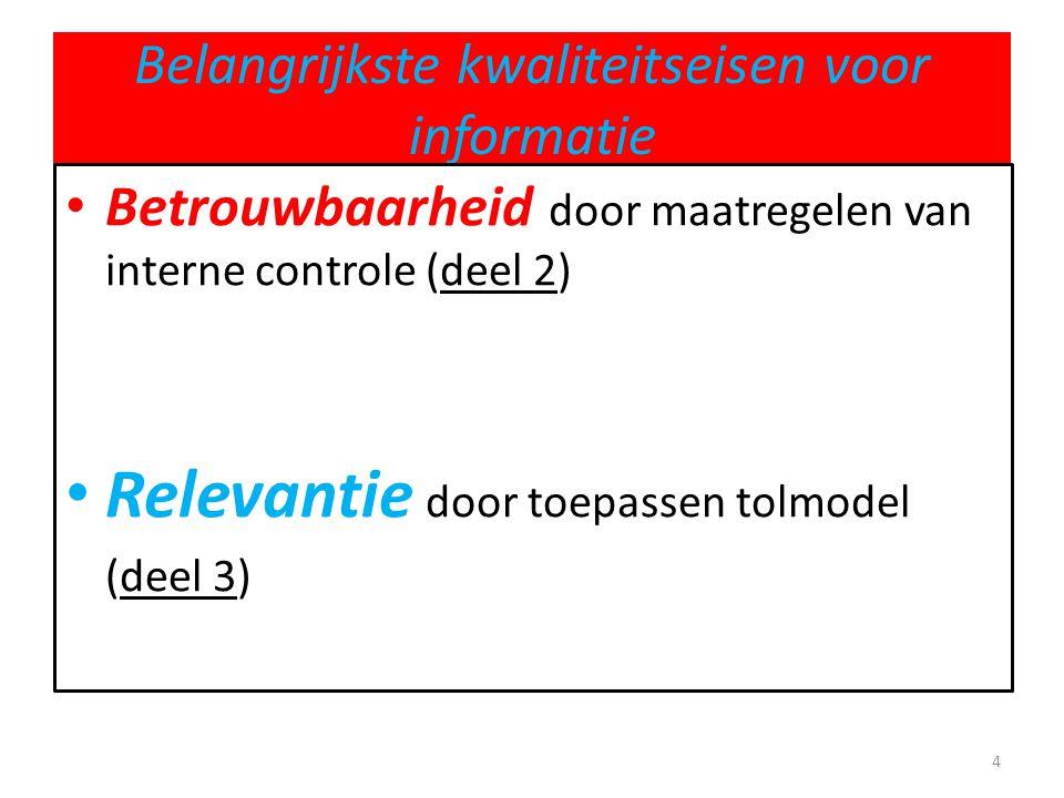 Belangrijkste kwaliteitseisen voor informatie • Betrouwbaarheid door maatregelen van interne controle (deel 2) • Relevantie door toepassen tolmodel (d