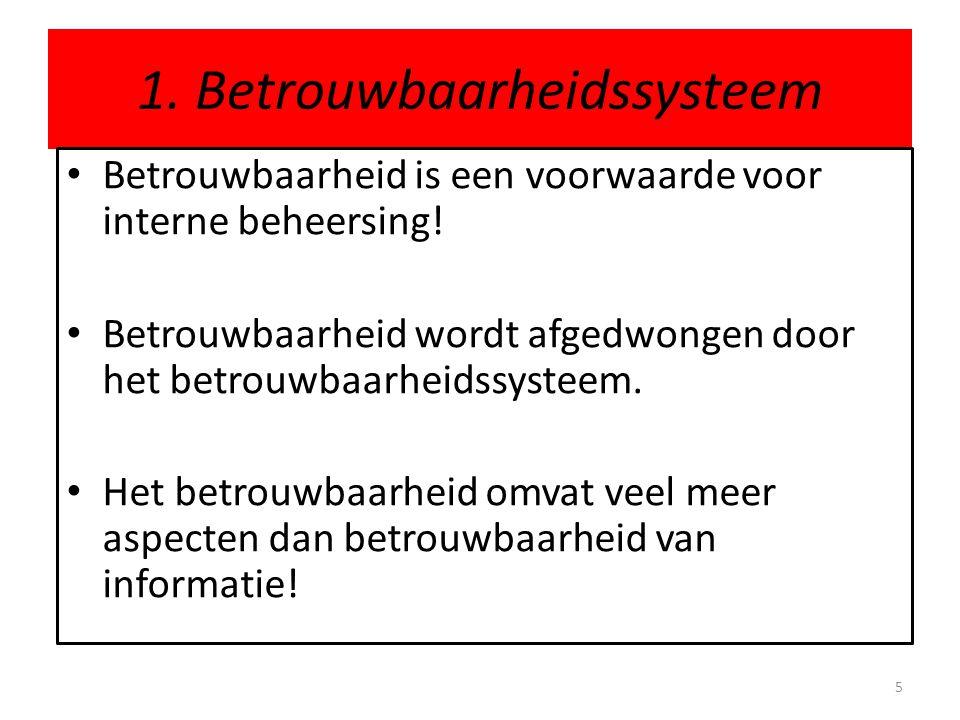 1. Betrouwbaarheidssysteem • Betrouwbaarheid is een voorwaarde voor interne beheersing! • Betrouwbaarheid wordt afgedwongen door het betrouwbaarheidss