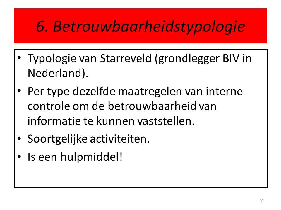 6. Betrouwbaarheidstypologie • Typologie van Starreveld (grondlegger BIV in Nederland). • Per type dezelfde maatregelen van interne controle om de bet