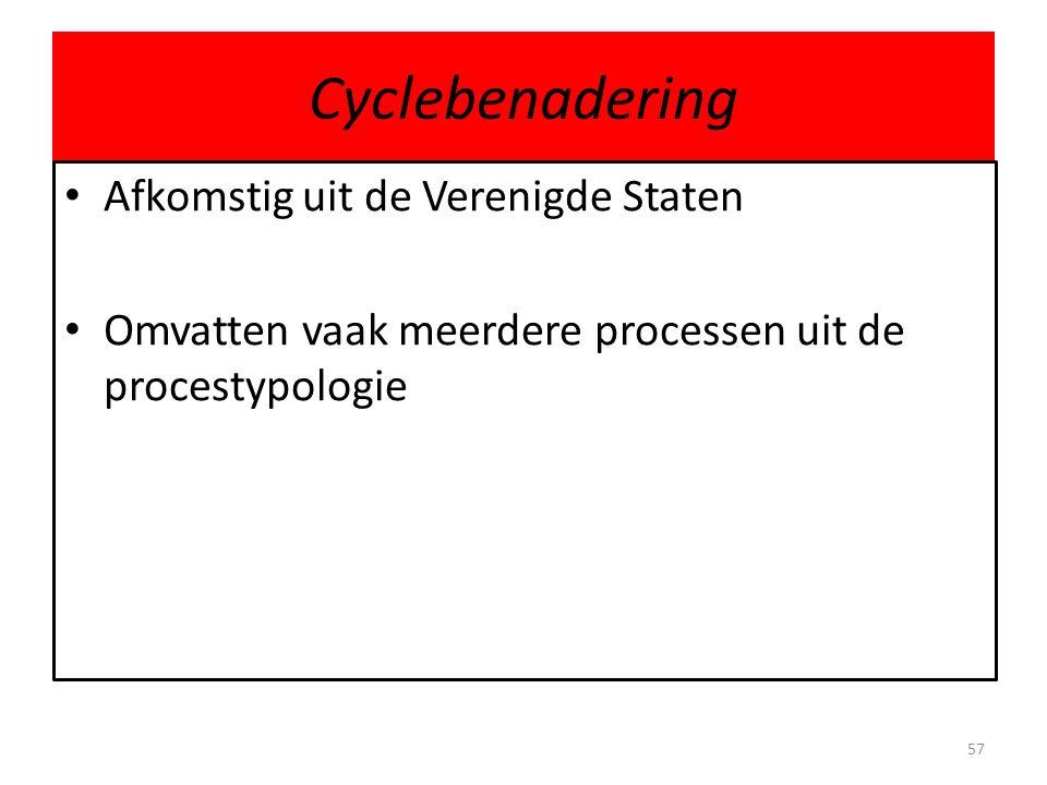 Cyclebenadering • Afkomstig uit de Verenigde Staten • Omvatten vaak meerdere processen uit de procestypologie 57