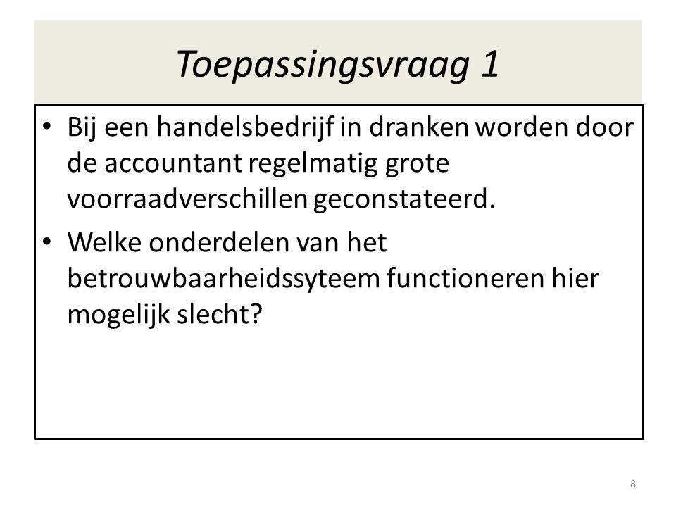 Toepassingsvraag 1 • Bij een handelsbedrijf in dranken worden door de accountant regelmatig grote voorraadverschillen geconstateerd. • Welke onderdele