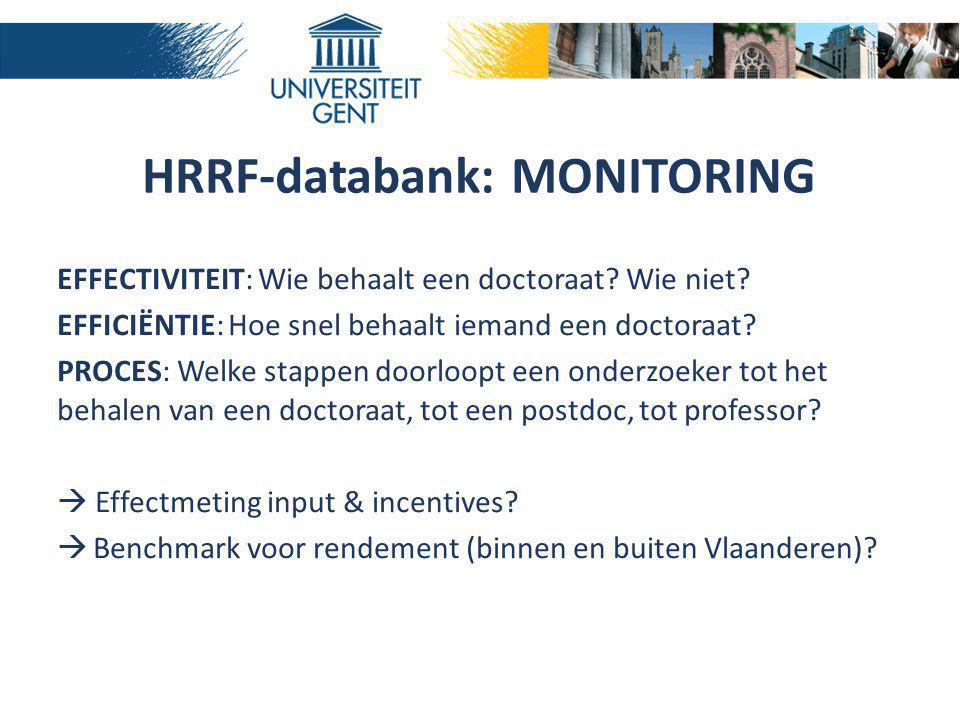 HRRF-databank: MONITORING EFFECTIVITEIT: Wie behaalt een doctoraat? Wie niet? EFFICIËNTIE: Hoe snel behaalt iemand een doctoraat? PROCES: Welke stappe