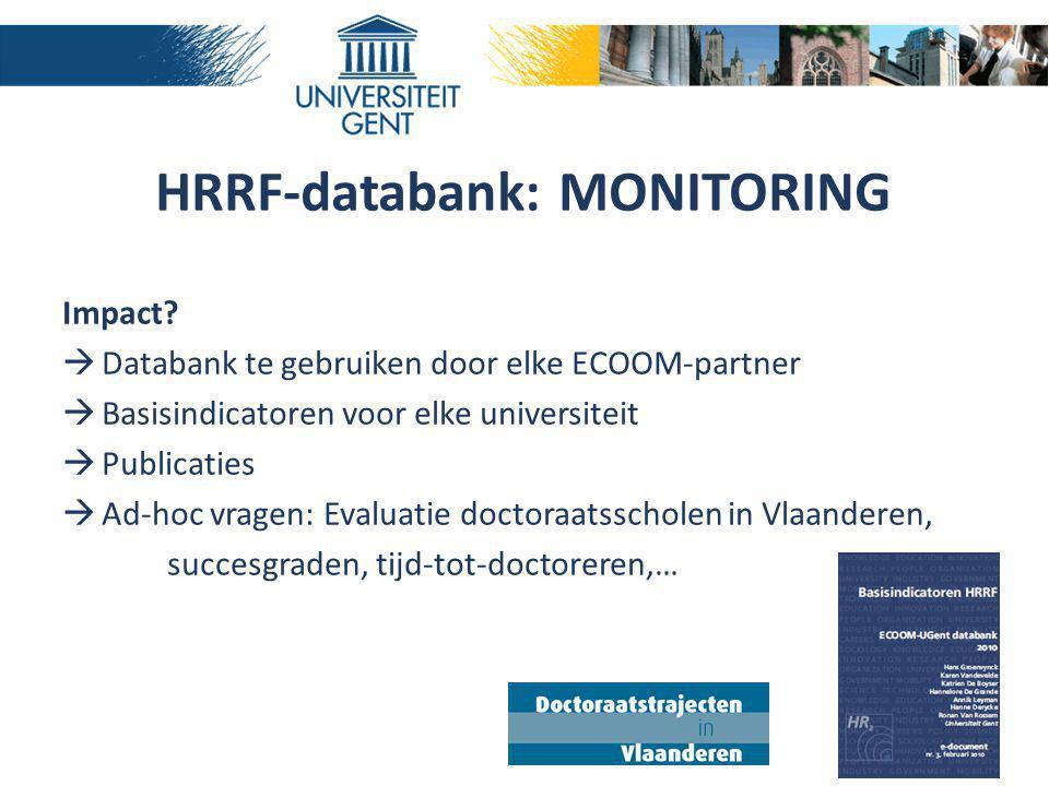 HRRF-databank: MONITORING Impact?  Databank te gebruiken door elke ECOOM-partner  Basisindicatoren voor elke universiteit  Publicaties  Ad-hoc vra