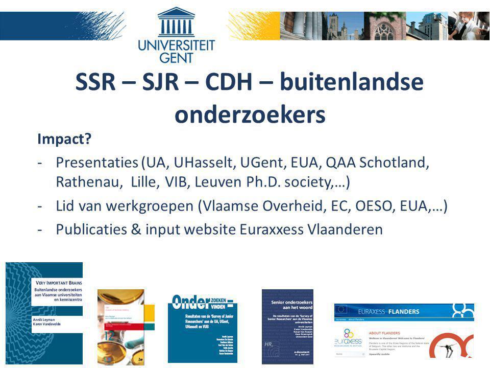 SSR – SJR – CDH – buitenlandse onderzoekers Impact? -Presentaties (UA, UHasselt, UGent, EUA, QAA Schotland, Rathenau, Lille, VIB, Leuven Ph.D. society