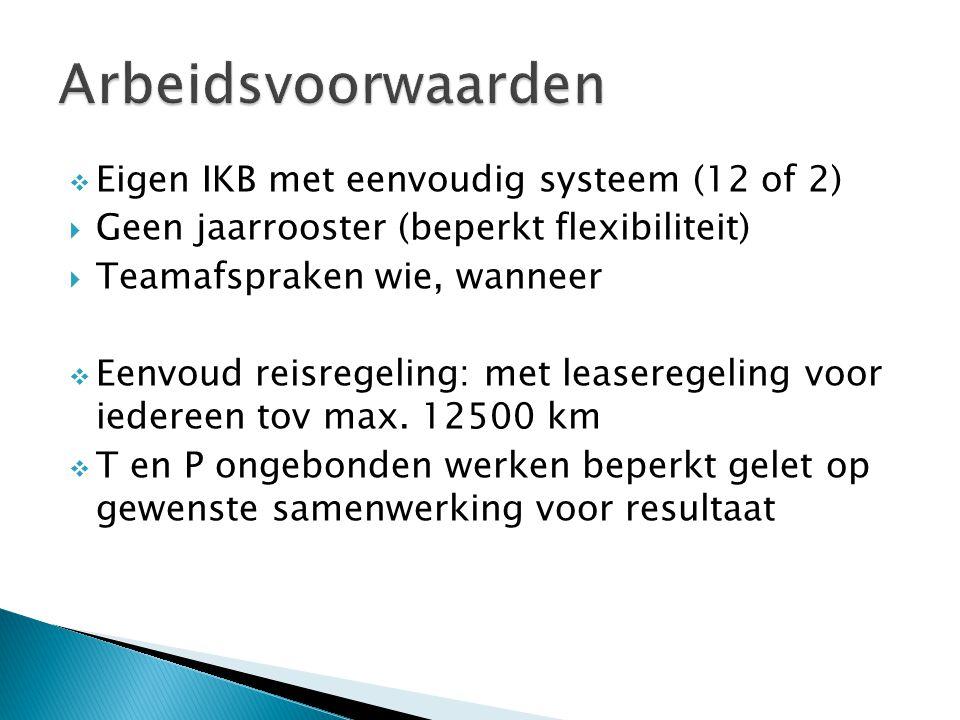  Eigen IKB met eenvoudig systeem (12 of 2)  Geen jaarrooster (beperkt flexibiliteit)  Teamafspraken wie, wanneer  Eenvoud reisregeling: met leaseregeling voor iedereen tov max.