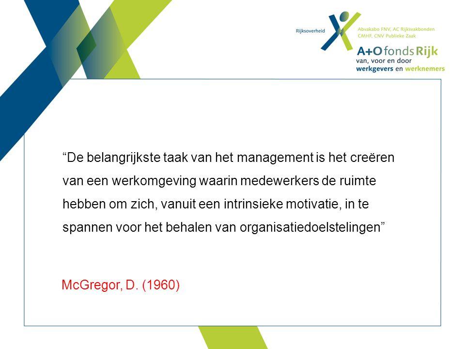 Professionele ruimte is de ruimte voor een medewerker om professioneel te handelen Lange onderzoekstraditie: autonome professional vs organisatie / management Oorzaken  Ruimte  Gevolgen De belangrijkste taak van het management is het creëren van een werkomgeving waarin medewerkers de ruimte hebben om zich, vanuit een intrinsieke motivatie, in te spannen voor het behalen van organisatiedoelstelingen McGregor, D.