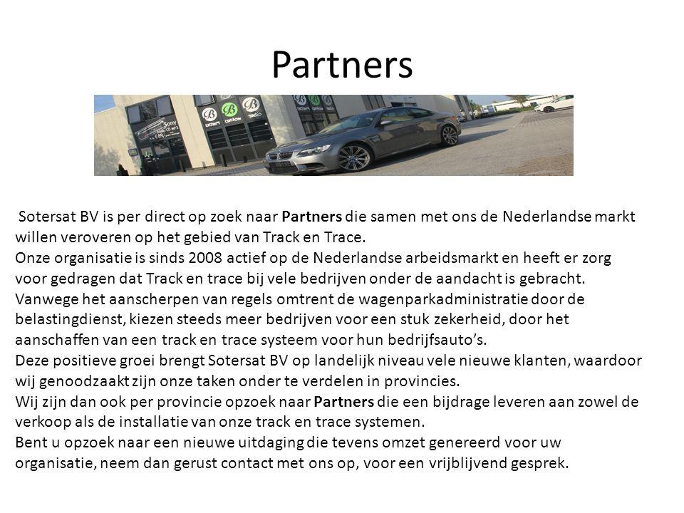Partners Sotersat BV is per direct op zoek naar Partners die samen met ons de Nederlandse markt willen veroveren op het gebied van Track en Trace. Onz