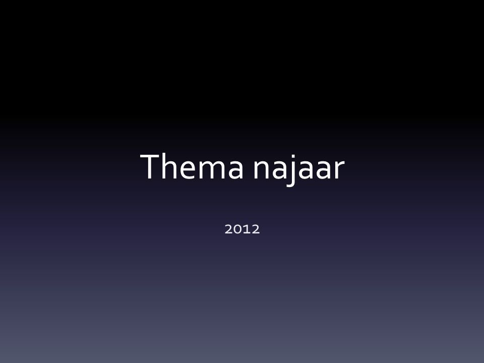 Thema najaar 2012