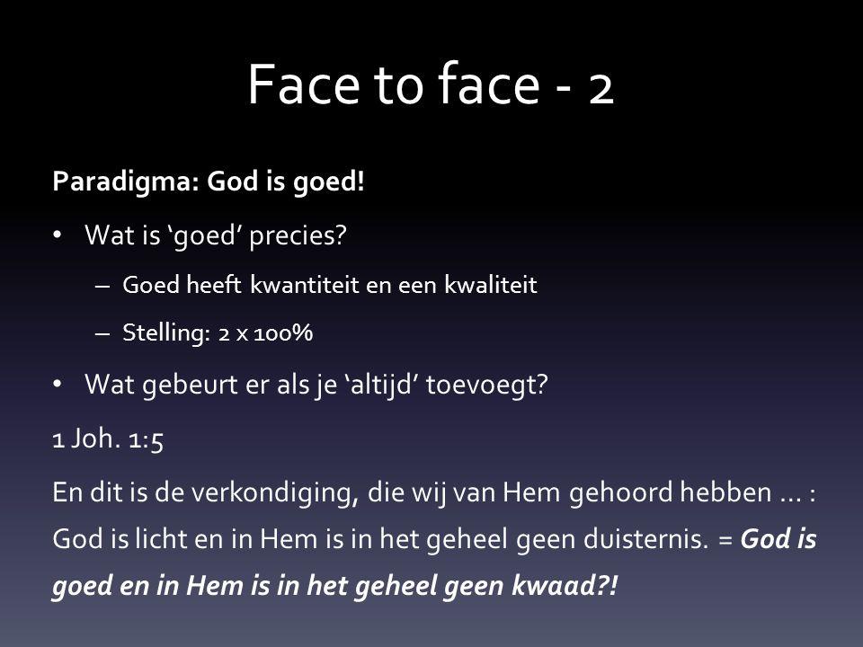 Face t0 face - 2 Met dat paradigma • Liep Mozes de wolk in en kwam hij stralend terug … • Kun jij God tegemoet treden en zul je stralen.