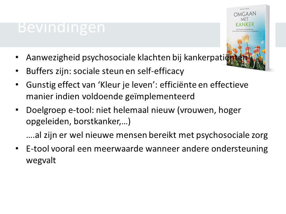 Bevindingen • Aanwezigheid psychosociale klachten bij kankerpatiënten • Buffers zijn: sociale steun en self-efficacy • Gunstig effect van 'Kleur je le